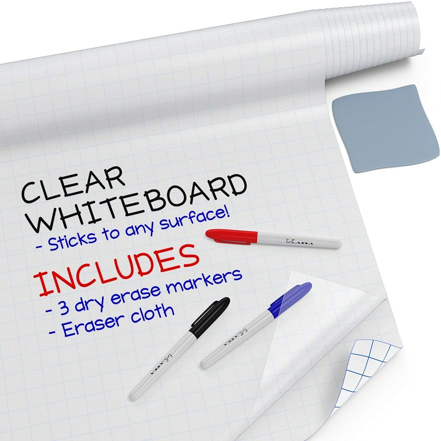 "Kassa Clear Dry Erase Board Sticker - 17.3"" x 78"" (6.5 Feet) - 3 Dry-Erase Markers Included - Transparent Adhesive White Board Film for Refrigerator, Desk, Office - Glass Dry Erase Board Alternative"