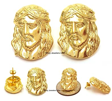 61426639c Image Unavailable. Image not available for. Color: Mens Hip Hop Yellow Gold  Finish 925 Sterling Silver Jesus Face Stud Earrings Small