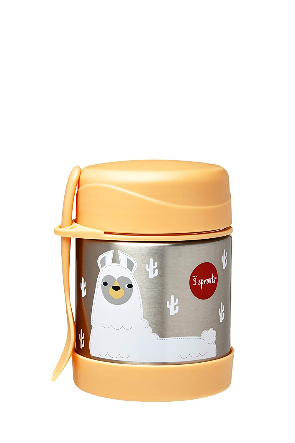 3 Sprouts Stainless Steel Food Jar and Spork for Kids, Llama