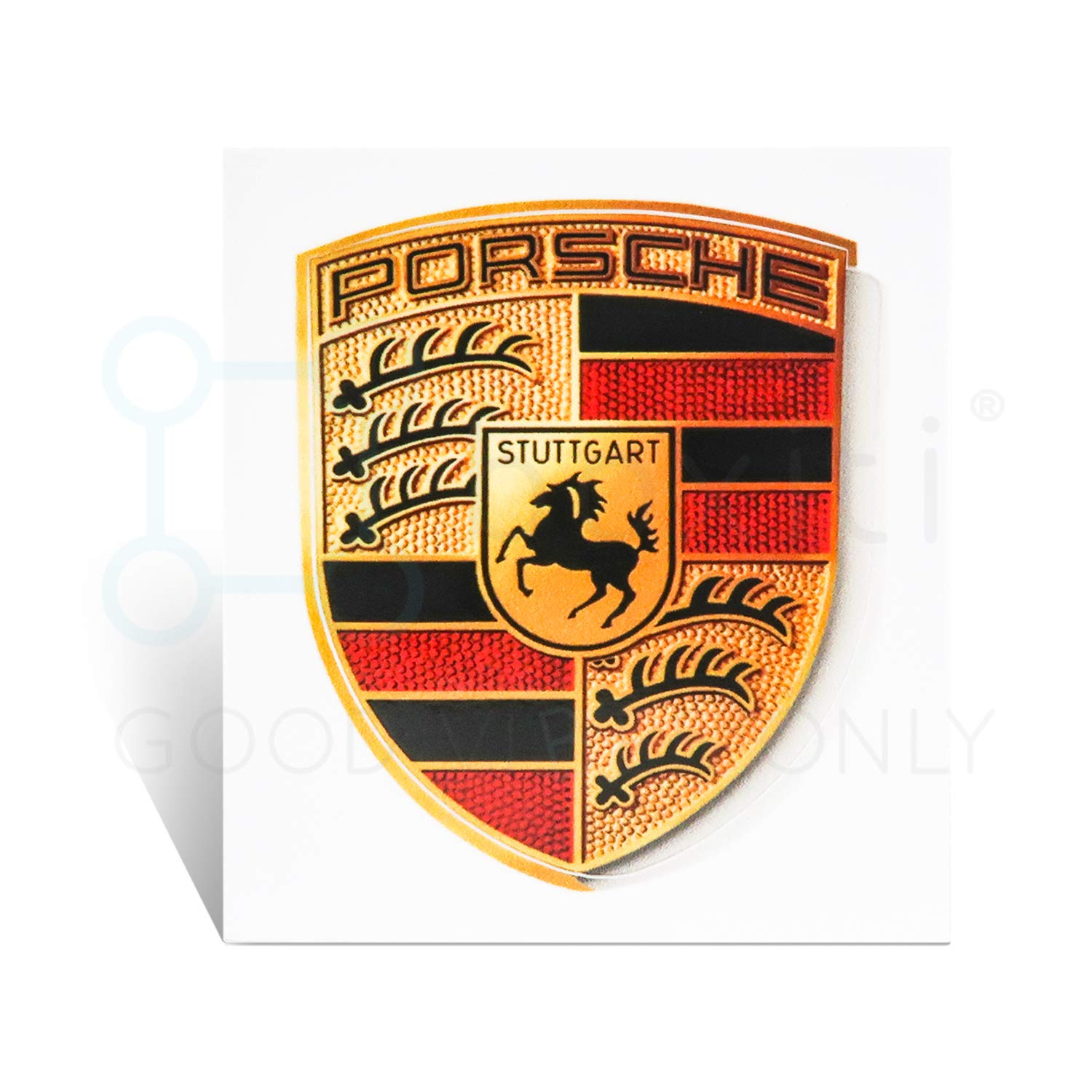 Genuine Crest sticker of Porsche Logo (65mm X 53mm) including wipe - GT3 RS 4.0/GT2 Style Porsche Emblem logo Sticker used for Wheel Center Caps and more