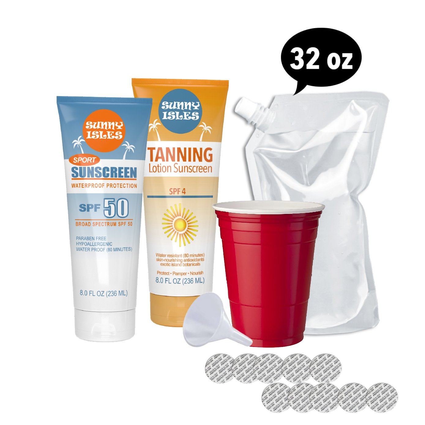 Hidden Flask - Sunscreen and Tanning Lotion Set - Includes 2 8oz Tubes, Funnel, 10 Seals, and 1 Free 32oz Cruise Flask (Sunscreen and Tanning Lotion Set)
