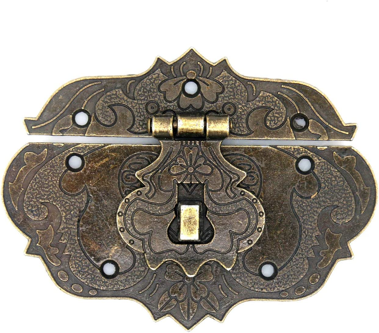 2 PCs Vintage Style Antique Brass Hasp Retro Embossing Decorative Latch with Padlock Hole for Jewelry Box Wooden Chest Cabinet 3.3 by 2.6 inch, L x W