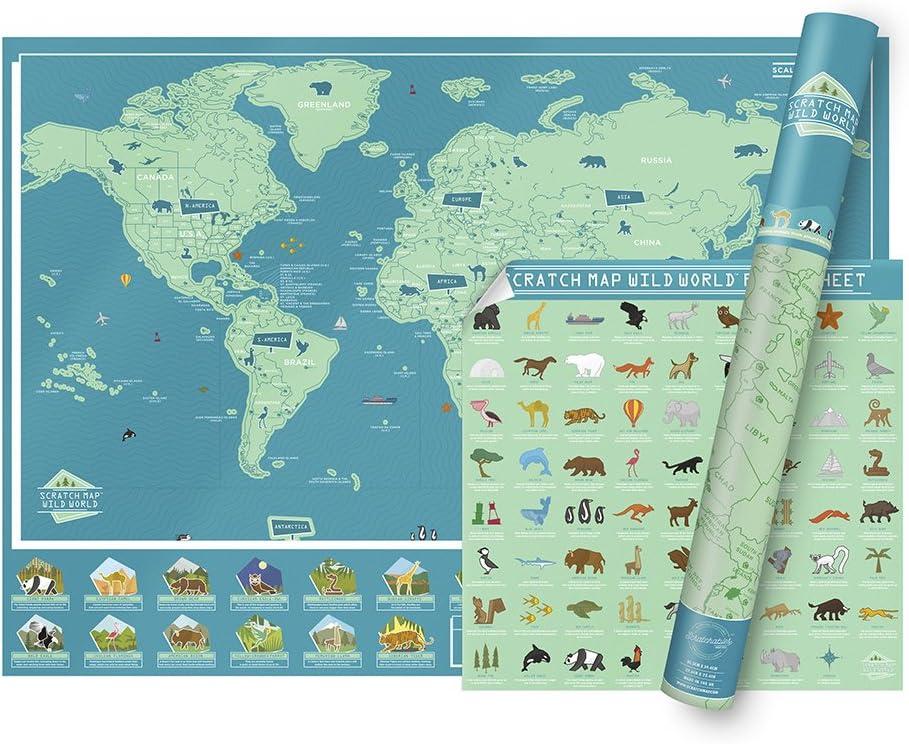 Luckies of London Scratch Map Wild World Póster Personalizado de Mapa Mundial de Raspar con Datos sobre Animales, Papel, Verde, 0.2x82.5x59.4 cm: Amazon.es: Hogar
