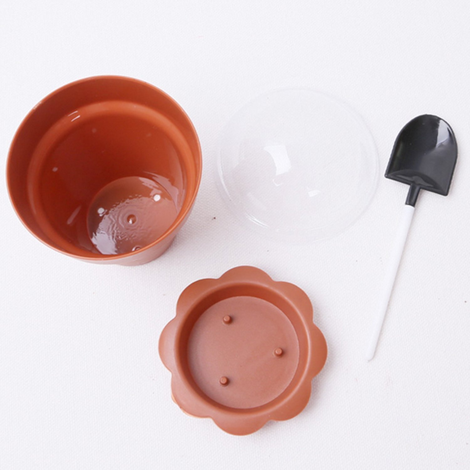 Astra shop 10 PCS Flower Potted Shape Jelly Cake Yogurt Mousse Cups with Lid and Shovel(caramel )