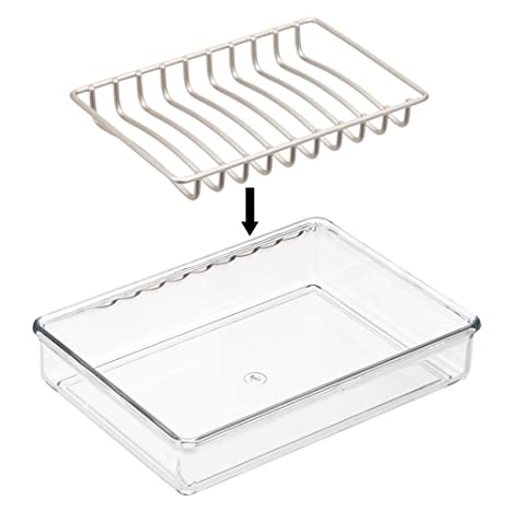 mDesign Juego de 2 organizadores de baño - Portaesponjas con rejilla para  un secado rápido - Accesorios de baño para guardar jabón -  transparente plateado ... f08d5dabd115