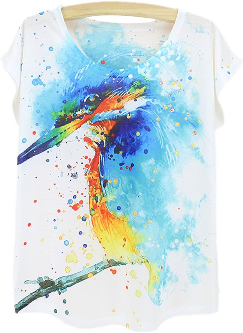 YueLian el Patrón de Camisetas de Manga Corta de Impresión Digital Aves de Graffiti Dibujo para los Mujers(pájaro): Amazon.es: Ropa y accesorios