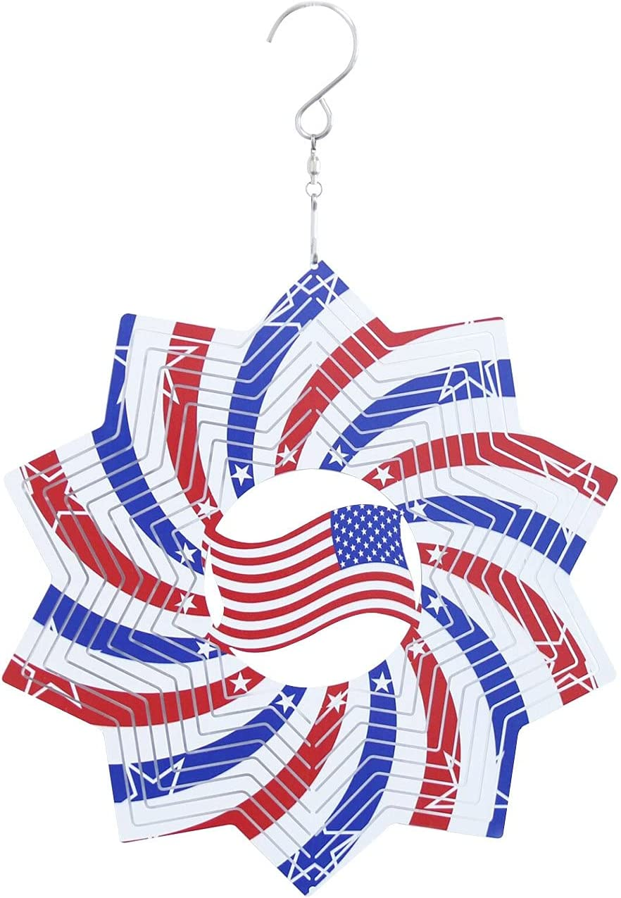 BISXOTY Independence Day American Flag Wind Chime Crafts,Retro Metal Crafts,Wall Mounted Home Garden Wall Door Panel Living Room Decoration(Small)