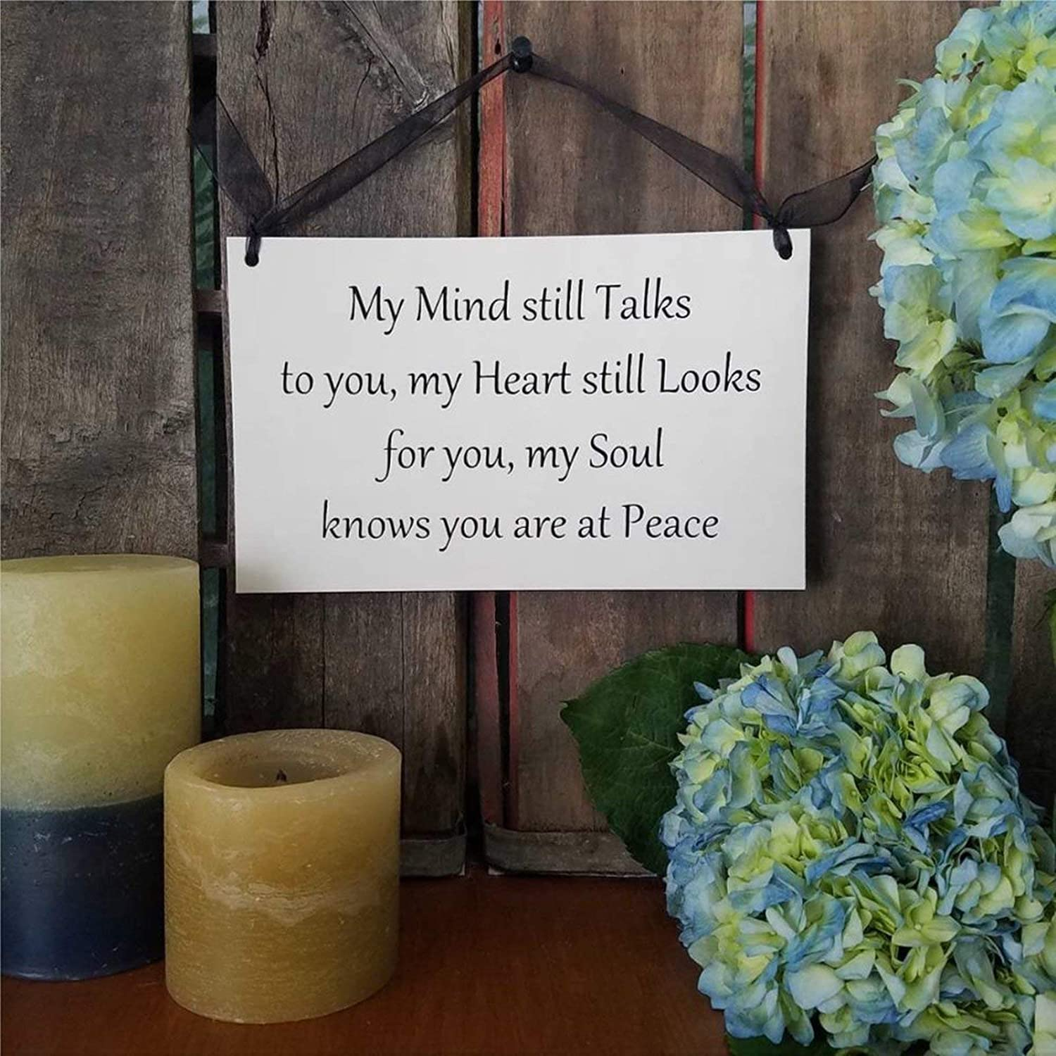 43LenaJon Wood Sign My Mind Still Talks to You My Heart Still Looks for You My Soul Knows You are at Peace Wooden Sign Wood Plaque Wall Art Wall Hanger Home Decor oa099