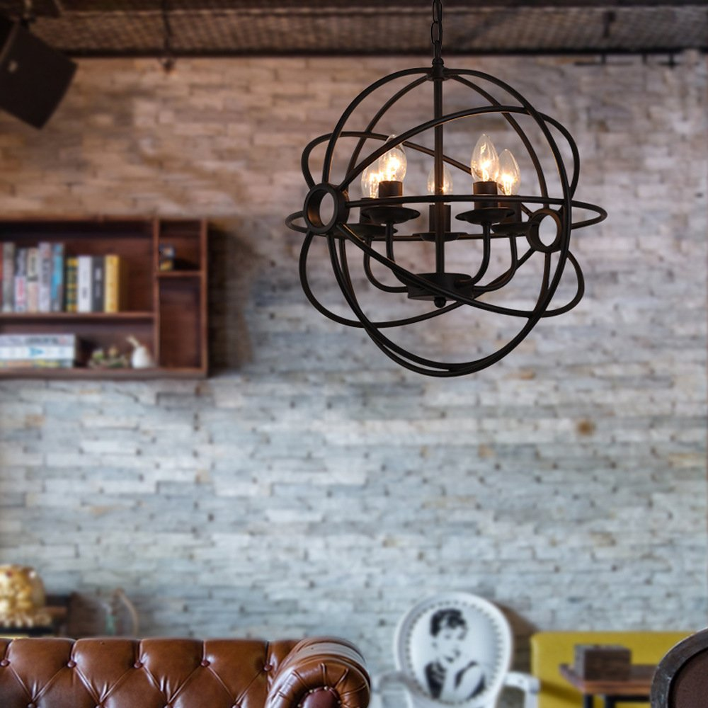 Aiwen Vintage Sphere Pendant lamp Black Iron Sphere Cage Hanging ...