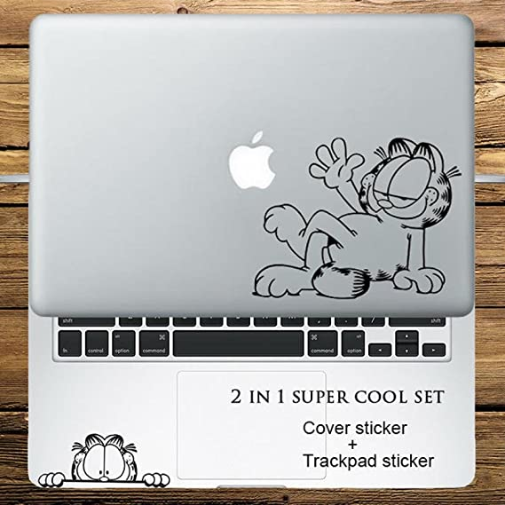 Circle Love Computer Decals 2 In 1 Cover Sticker + Trackpad Sticker Set Garfield Cat Vinyl