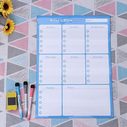 bleu ciel STOBOK Calendrier magn/étique pour r/éfrig/érateur Calendrier mensuel hebdomadaire effa/çable Calendrier magn/étique