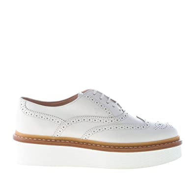 c746f03882 Tod's Women Shoes White Leather Laced Brogues Oxford with Platform ...