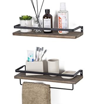 Soduku Floating Shelves Wall Mounted Storage Shelves For Kitchen Bathroom Set Of 2 Brown