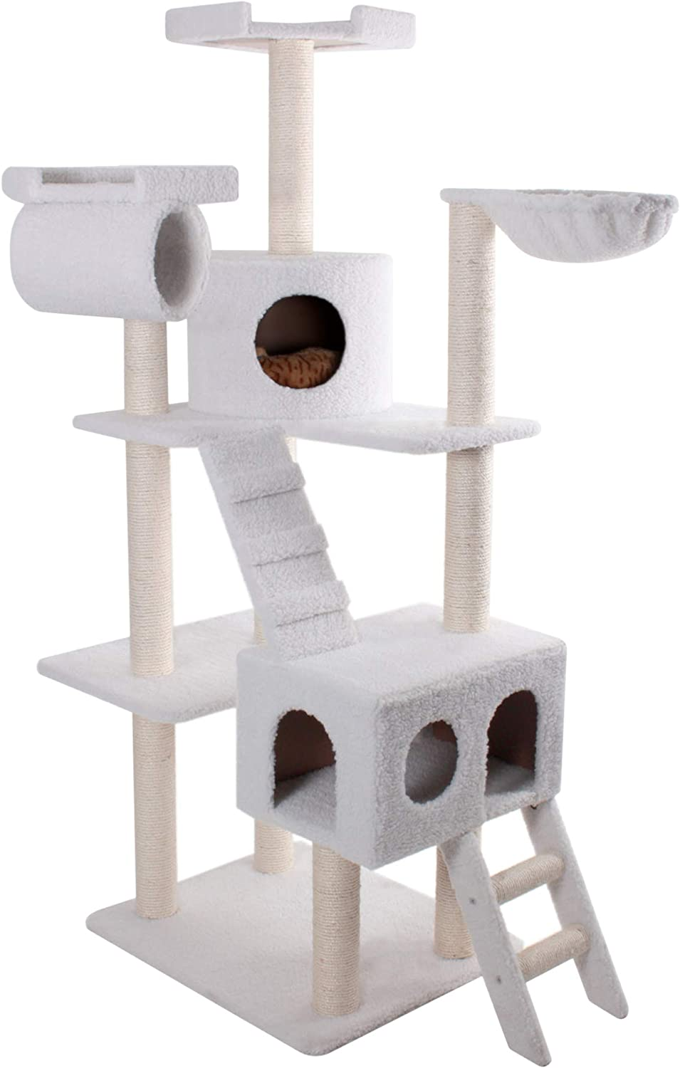 Majestic Pet Products 73 inch Beige Casita Cat Furniture Condo House Scratcher Multi Level Pet Activity Tree