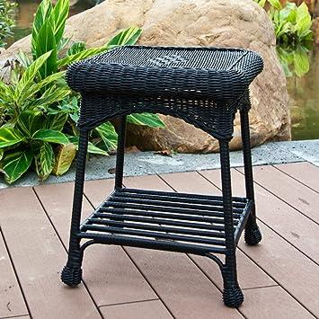 Wicker Lane OTI001 D Outdoor Black Wicker Patio Furniture End Table