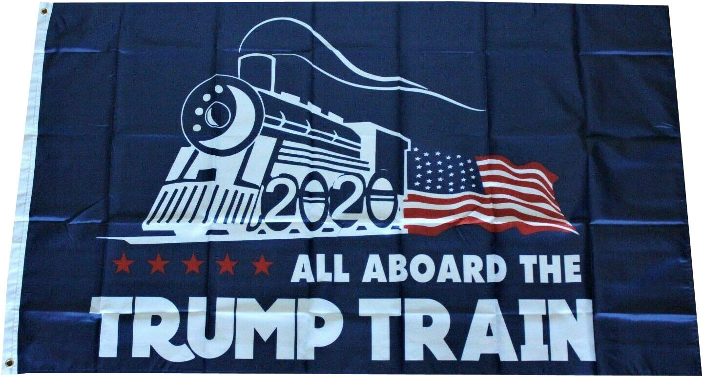 Black All Aboard the Trump Train 2020 USA Flag T-Shirt  US Men/'s trend 2020