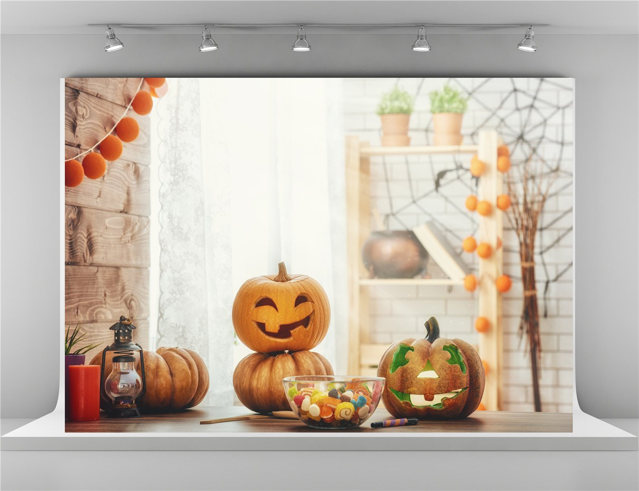 7x5ft-2.2x1.5m Cute Pumpkin Photo Background Spider Web White Brick Wall Backdrop Booth for Happy Thanksgiving Photography Backdrops