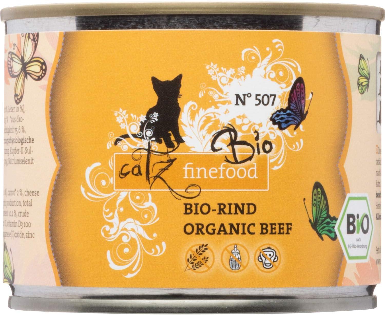 catz finefood Comida para Gatos orgánica Vacuno – N° 507 – Comida húmeda para Gatos – 6 x 200 g – sin Cereales ni azúcar añadido (1,2 kg)
