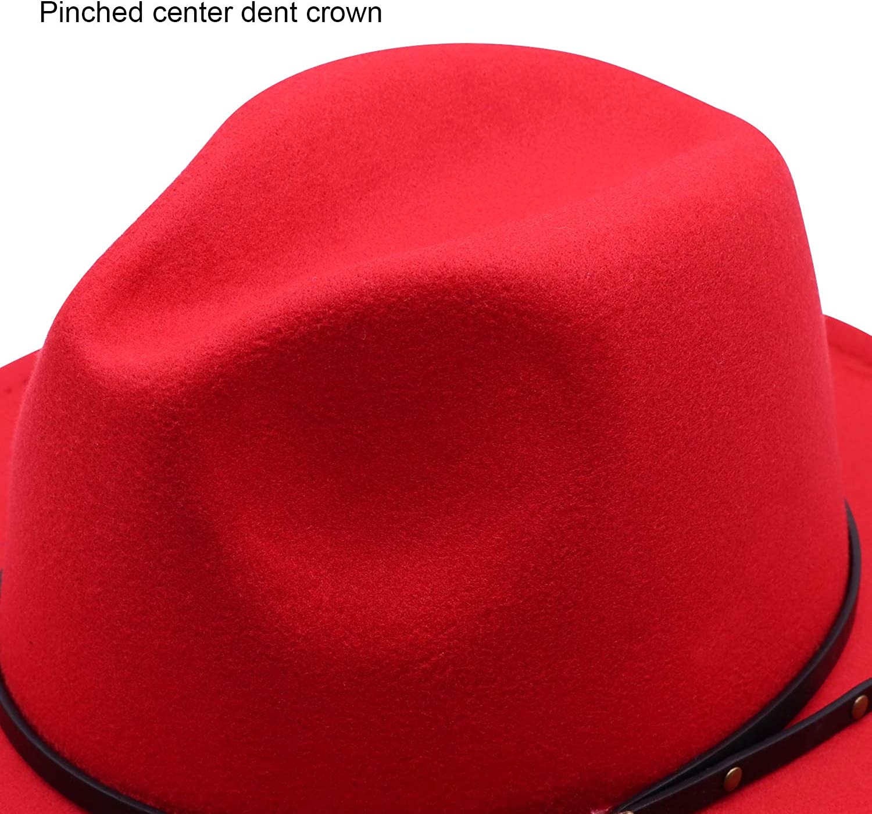 DRESHOW Women Vintage Wide Brim Fedora Hat with Belt Buckle Panama Hat