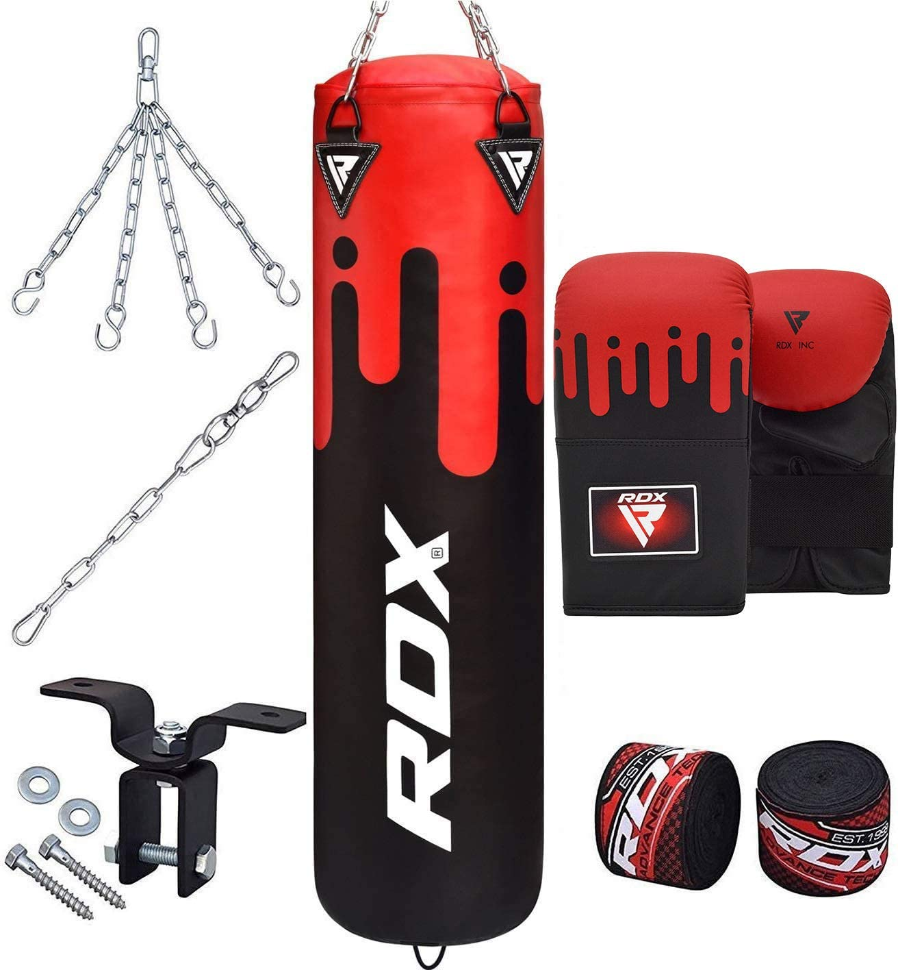 4ft Bag Punching Boxing Heavy Mma Punch Gloves Chains Filled Kicking Bracket