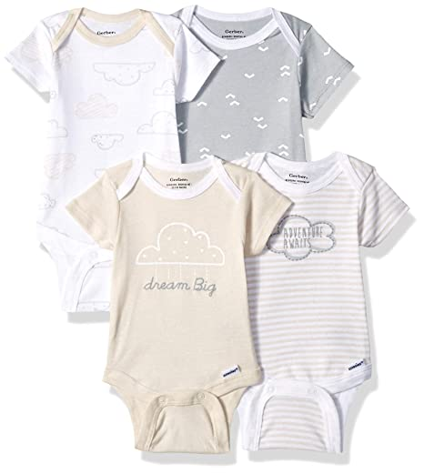 68f427e74 Gerber Baby 4-Pack Short-Sleeve Onesies Bodysuit, Cloud Dream Big, Newborn