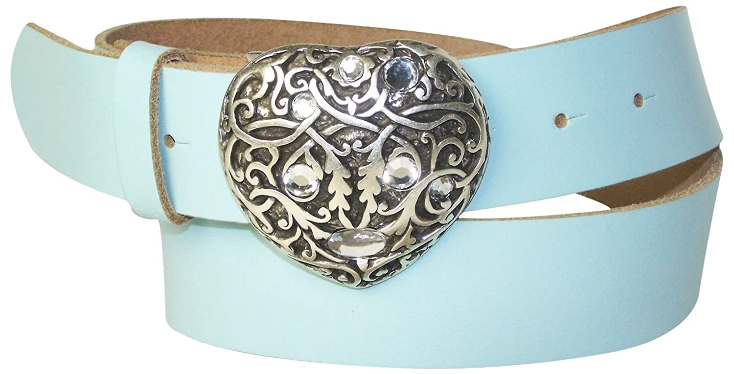1.5//4cm 18354 FRONHOFER Womens belt with a silver rhinestone heart buckle