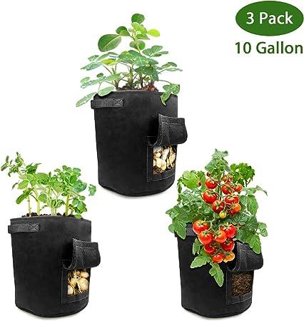 5 bolsas de cultivo para plantas transpirables bolsas de fieltro con asas bolsas de semillas para plantas para frutas y verduras duraderas no tejidas