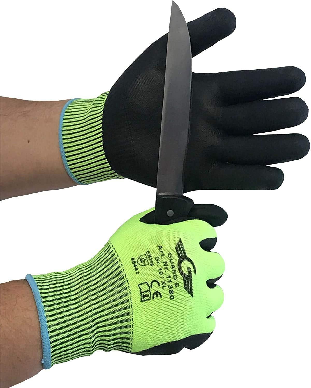 Guantes de protección contra cortes nivel 5 – Palma y dedos con revestimiento de nitrilo – sin costuras, puños de punto
