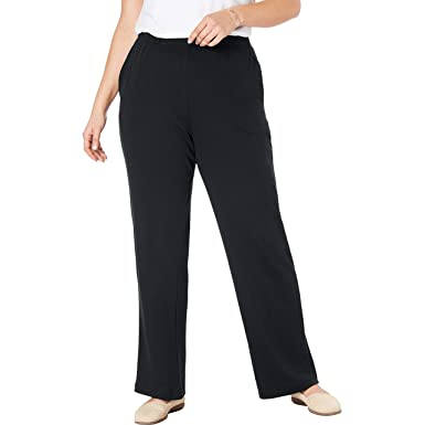 b17e22c5b4047e Woman Within Women's Plus Size 7-Day Knit Wide Leg Pant at Amazon ...