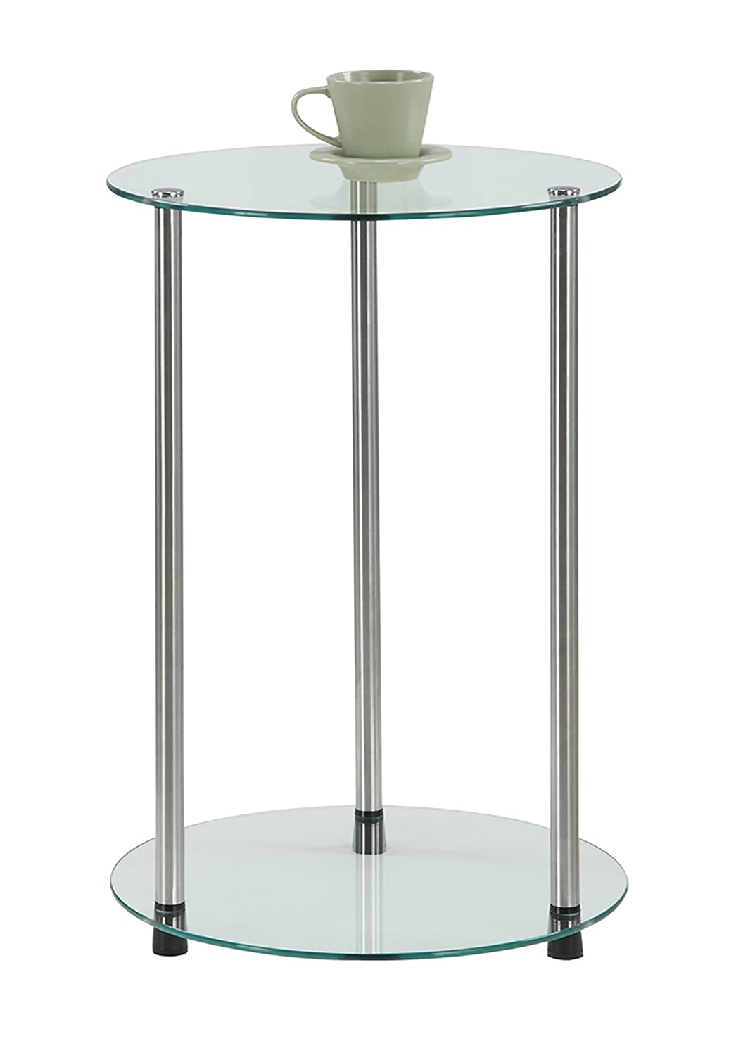 Amazon.com: Convenience Concepts Designs2Go 2 Tier Round End Table: Kitchen  U0026 Dining