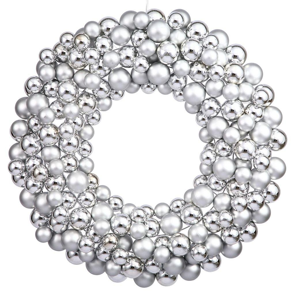 CDM product Vickerman Colored Ball Wreath, 36-Inch, Silver big image