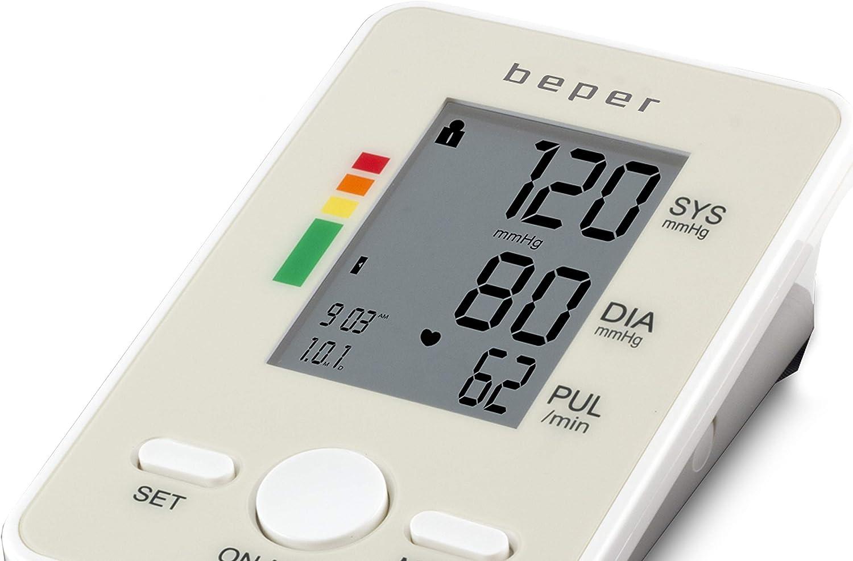 BEPER 40.120 Tensiómetro digital de brazo, esfigmomanómetro de brazo, gran pantalla LCD, valores de pulso sistólico, diastólico e irregular