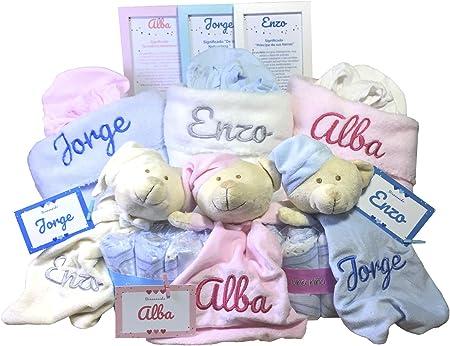 MabyBox Velvet DouDou | Canastilla Bebé Personalizada | Cesta Regalo Recién Nacido | Set Bebe Recién Nacido Personalizado (Blanco)