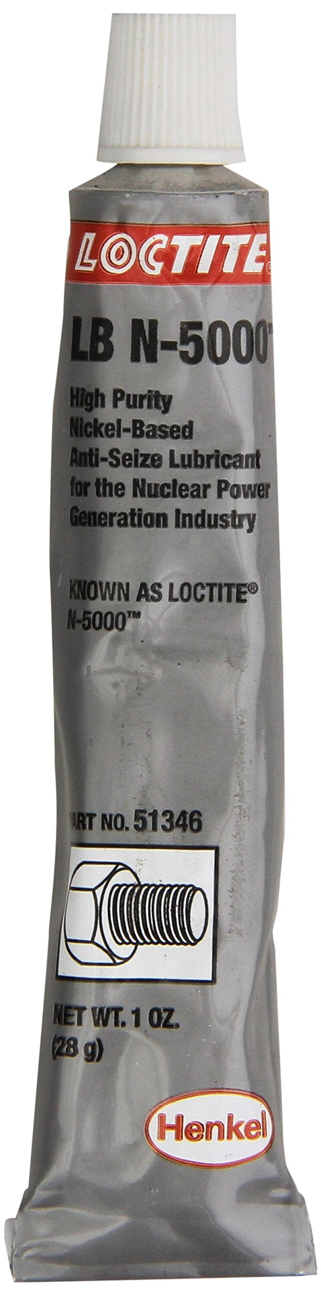 Loctite 51346 Silver LB N-5000 High-Purity Anti-Seize Lubricant, -20 Degree F Lower Temperature Rating to 2400 Degree F Upper Temperature Rating, 1 fl. oz. Tube