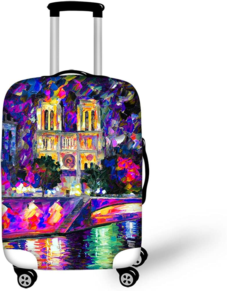 Space Travel Eiffel Tower Luggage Elastic Protective Covers for 18-30 Suitcase