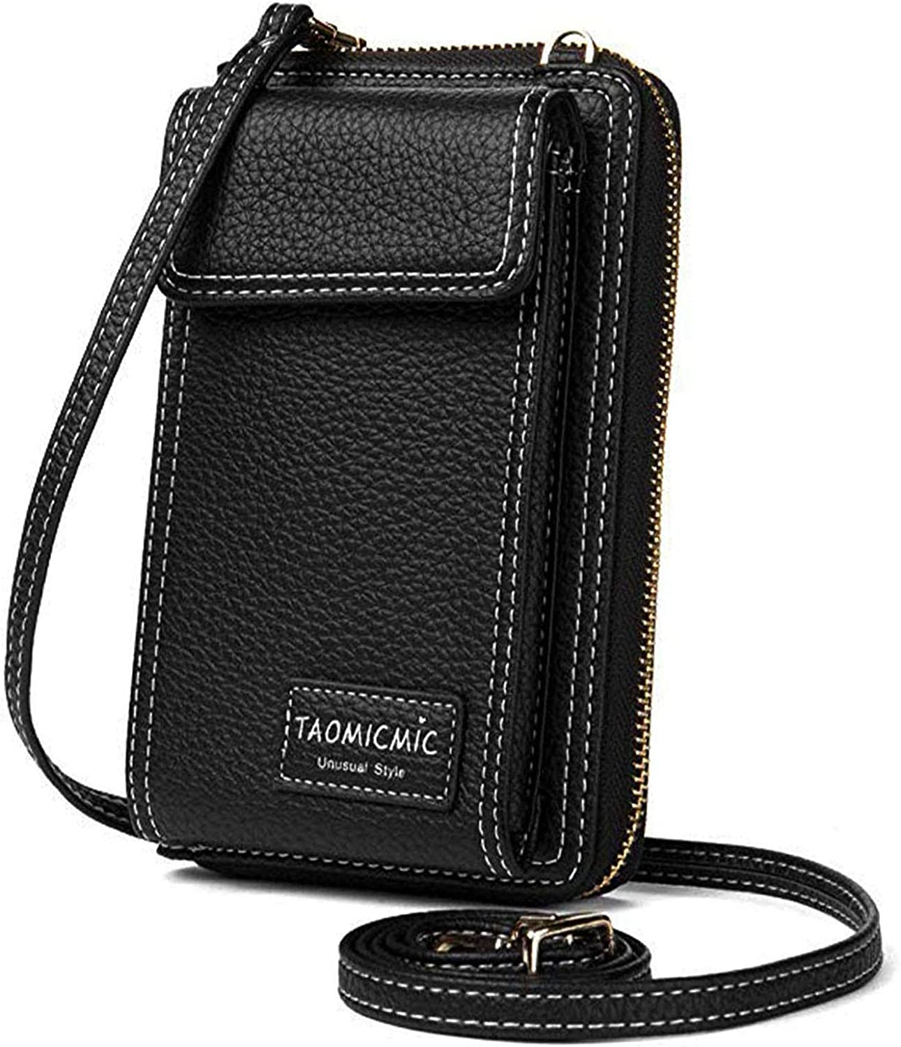 Women Crossbody Cell Phone Bag Small Shoulder Purse Leather Travel RFID Card Wallet Case Handbag Phone Pocket Baggap Clutch for iPhone 11 Se 2020 11 Pro Xr X Xs Max 8/7/6 Plus Samsung (Black)