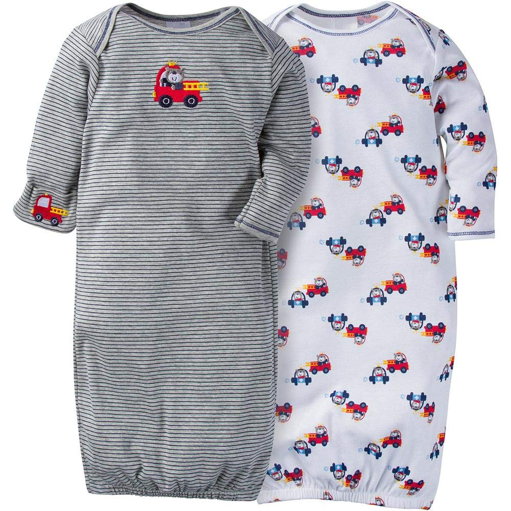 Gerber baby-boys Baby-Boys' 2 Pack Gown Fire Truck)