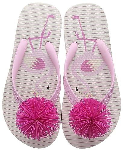 3c0fe5fc7fba Joules Girls Flip Flops Pink Flamingo Stripe Pkflams