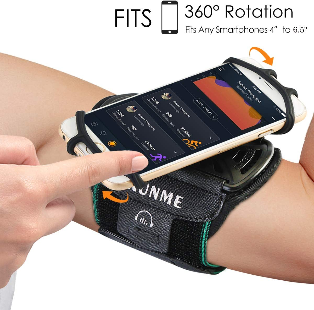 Armband Black Wristband Phone Holder for Running Universal Sports Armband for 4-6.5 inch iPhone X iPhone 8 8Plus 7 7 Plus 6 6S Plus 5S Samsung Galaxy S9 S8 S8 Plus S7 Edge Note 8 Google Pixel