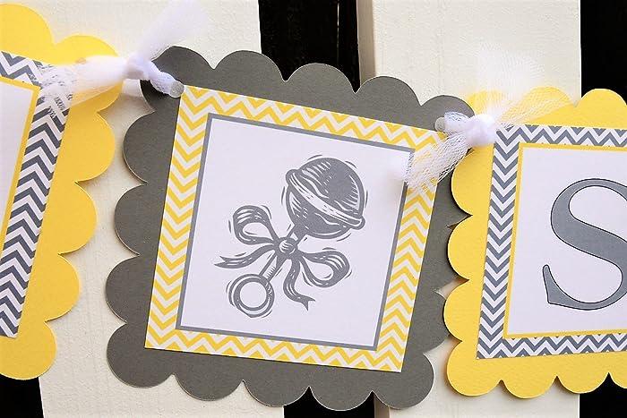 Amazoncom Yellow And Gray Baby Shower Banner Customizable Baby