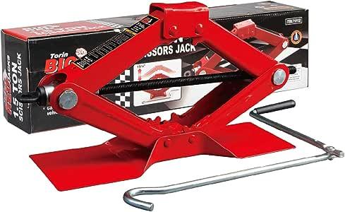 BIG RED T10152 Torin Steel Scissor Lift Jack Car Kit, 1.5 Ton (3,000 lb) Capacity, Red