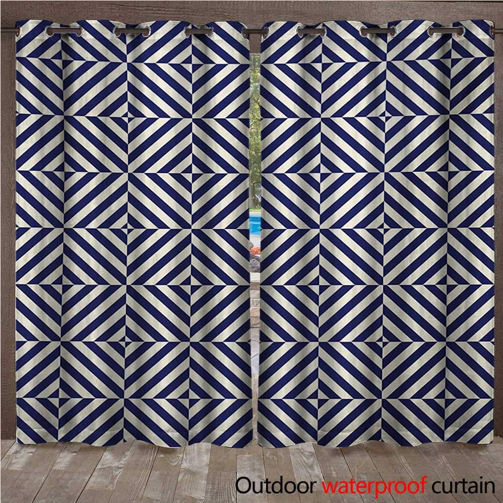 Amazon com : Navy Blue Porch Curtains Wave Like Striped