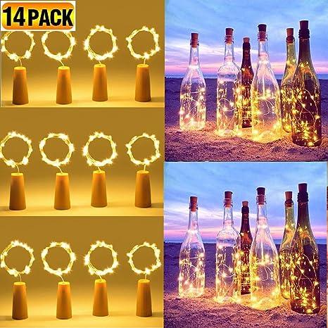 14 Pack Luz de Botella Led, CoolBa 2m 20 LED luces led para Botellas de Vino Pilas Decorativas Cobre Luz Corcho para Romántico Boda, Navidad, Fiesta, ...