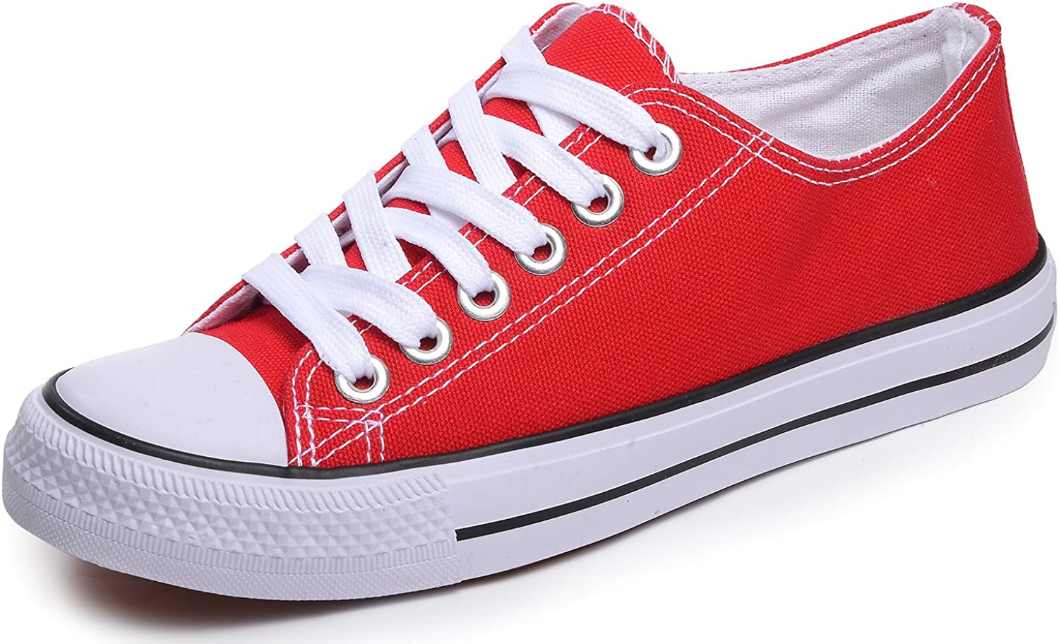 Odema Women Men Lace Up Canvas Shoes Fashion Sneakers Classic Casual Preppy Style Flat Shoes Red