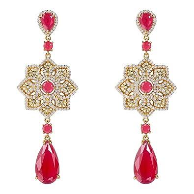 821f0a9fd77 Crystal Drop Earrings Wedding Bridal Jewelry Yellow Gold CZ Ruby Flower  Long Earrings