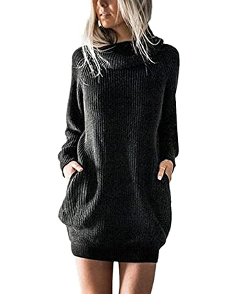 Pull Robe Longues Polaire Chaud 34 Minetom Femme Mini Chandail Noir A Solide Fr Short Manches Hiver CdsQthr