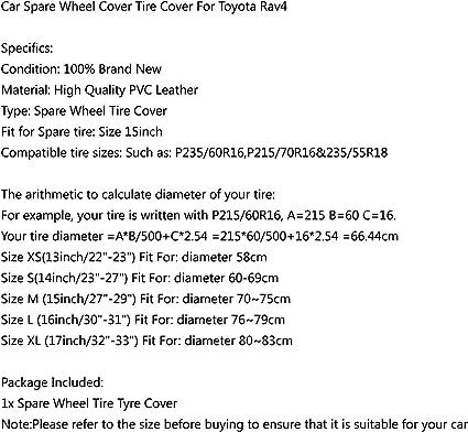 Wheel Spare Tire Cover 15inch For Toyota RAV4 White 70-75cm HD Vinyl