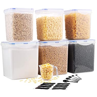 Phirde Food Storage Containers for Flour, Dry Cereal, Sugar, Rice, Baking Ingredients (Set of 6) - Airtight, Leakproof, Clear Plastic Kitchen Food Storage Containers with Locking Lids