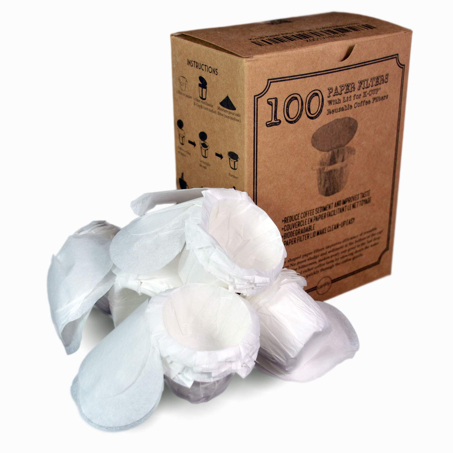 canFly Disposable K-CUP Paper filter with Lid for Keurig single cup coffer filters compatible with Ekobrew, EZ-Cup and other Reusable K-CUP Filters (100 Count)