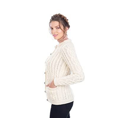 100% Merino Wool Ladies Irish Buttons Knit Cardigan with Pockets at Women's Clothing store